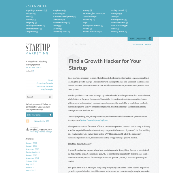 Find a Growth Hacker for Your Startup - The Growth Gallery for Startups