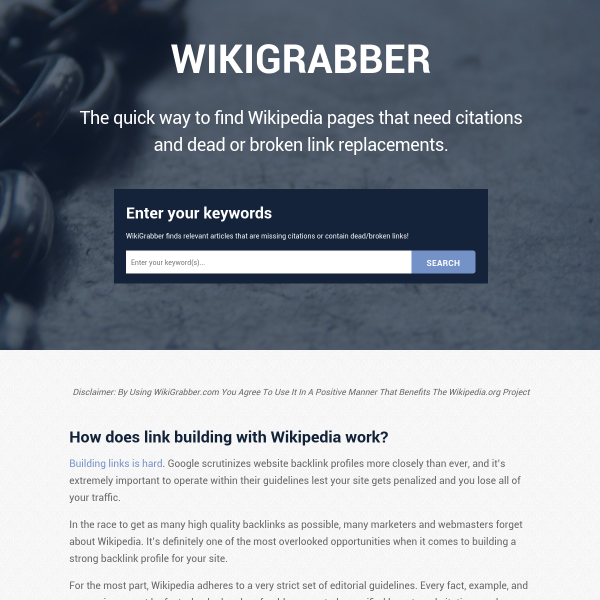 WikiGrabber - The Growth Gallery for Startups